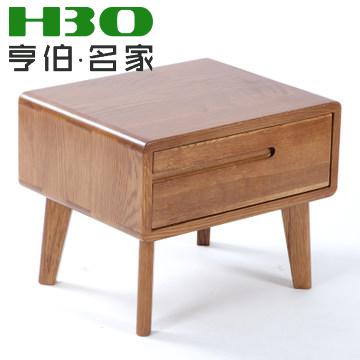 亨伯 田园咖原木色典雅棕框架结构橡木储藏抽象图案成人日式 床头柜