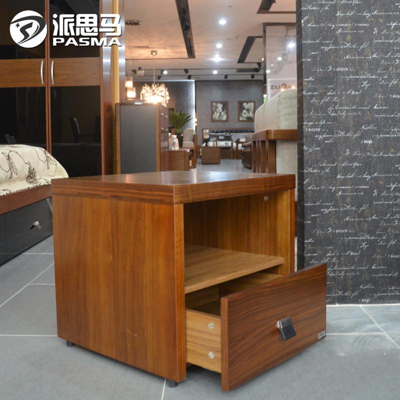 派思马胡桃木色箱框结构核桃木储藏成人简约现代床头柜