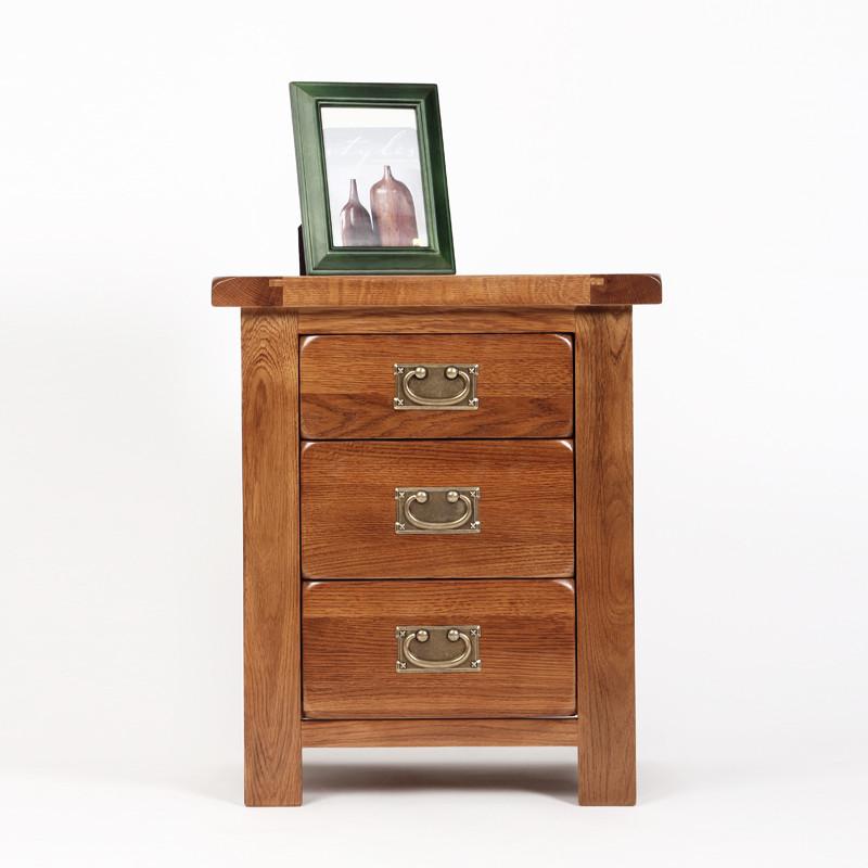 亨伯 典雅棕田园咖原木色框架结构橡木储藏成人 床头柜