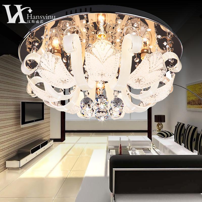 漢斯威諾 不帶遙控帶遙控水晶鐵簡約現代電鍍圓形白熾燈節能燈LED 吸頂燈