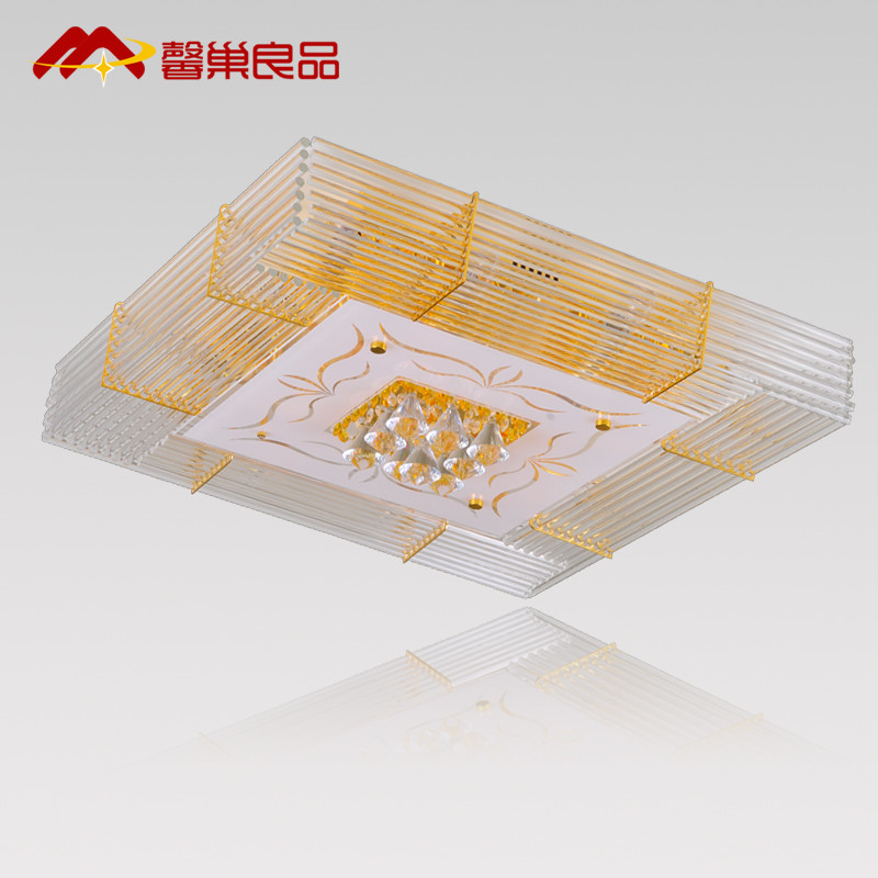 馨巢良品水晶铁简约现代电镀长方形白炽灯节能灯吸顶灯