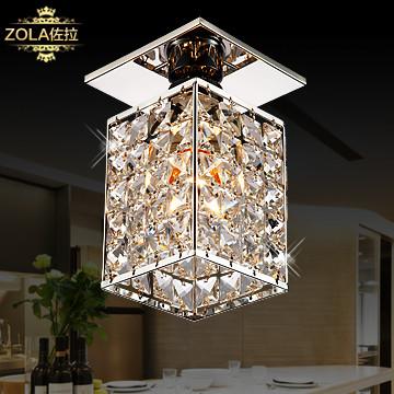 佐拉水晶不锈钢简约现代长方形白炽灯节能灯吸顶灯