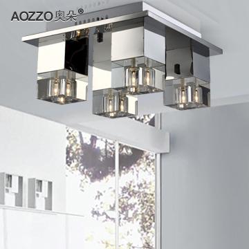 奥朵水晶铁简约现代镀铬卤钨灯吸顶灯