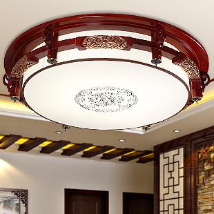 雄立 PVC木新古典镂空雕花圆形荧光灯LED 吸顶灯