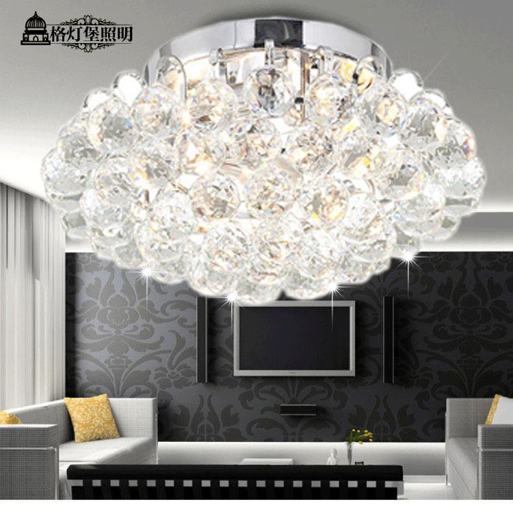 格灯堡水晶铁简约现代镀铬圆形白炽灯节能灯吸顶灯