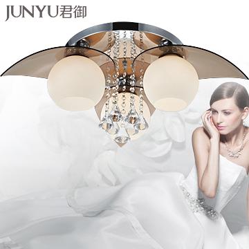 君御玻璃水晶简约现代电镀圆形白炽灯节能灯-吸顶灯