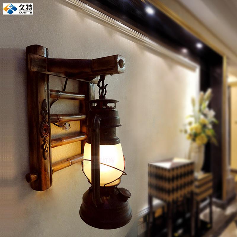 久特 玻璃木复古怀旧/老家具白炽灯节能灯LED 壁灯