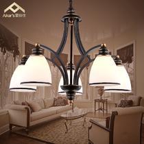 玻璃铁美式乡村喷漆磨砂白炽灯节能灯LED AK8035-5H吊灯