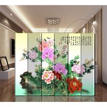 印花杉木面料工艺木质工艺榫卯结构复合面料植物花卉现代中式 屏风