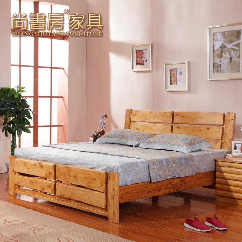 尚书房 柏木框架结构简约现代 撒哈拉原木床床