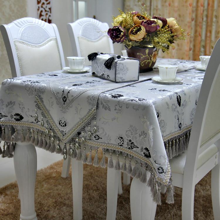 满缘 银灰色布植物花卉欧式 桌布