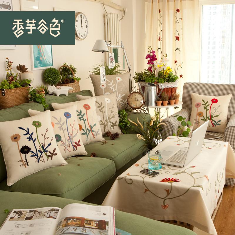 香芋谷色 布靠垫套/a90抱枕套植物花卉地中海 抱枕