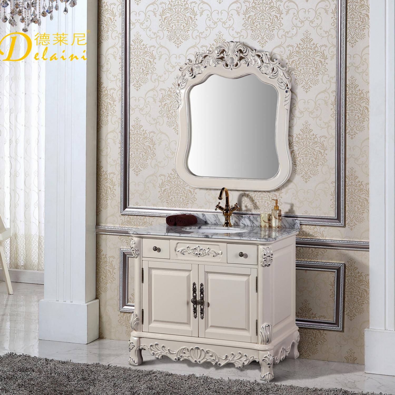 德莱尼 橡胶木含带配套面盆大理石台面欧式 dln-9259浴室柜
