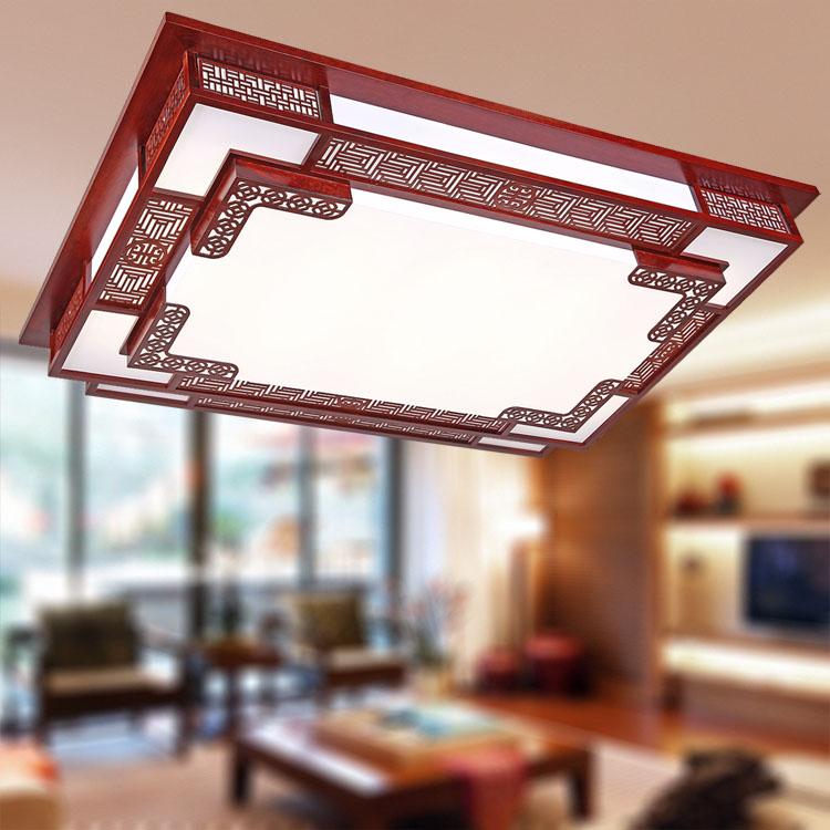 雄立 PVC木现代中式镂空雕花长方形荧光灯LED 吸顶灯