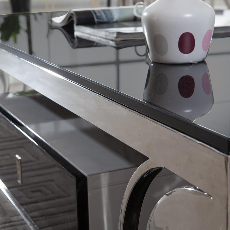 朝阳钢化焊接不锈钢玻璃工艺金属工艺简约现代茶几