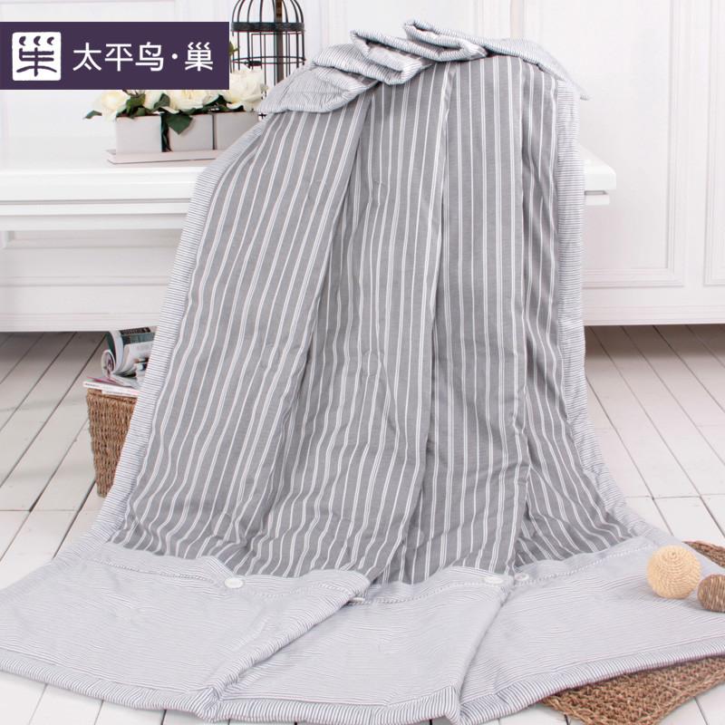 太平鸟巢驼色灰色绗缝空调被夏凉被斜纹普通全棉化纤被子