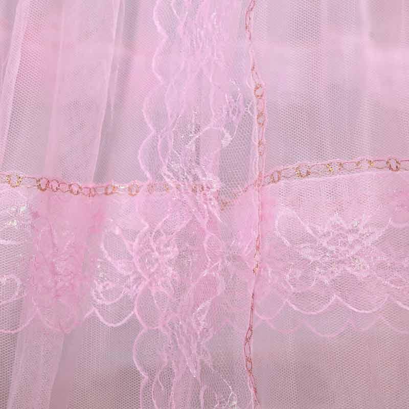 唯萨粉色玉色黄色玻璃纤维管吊挂圆顶蚊帐通用蚊帐
