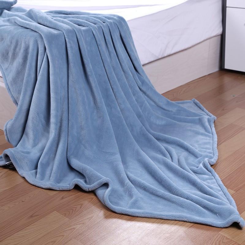梦的家纺珊瑚绒毯春秋纯色毛毯