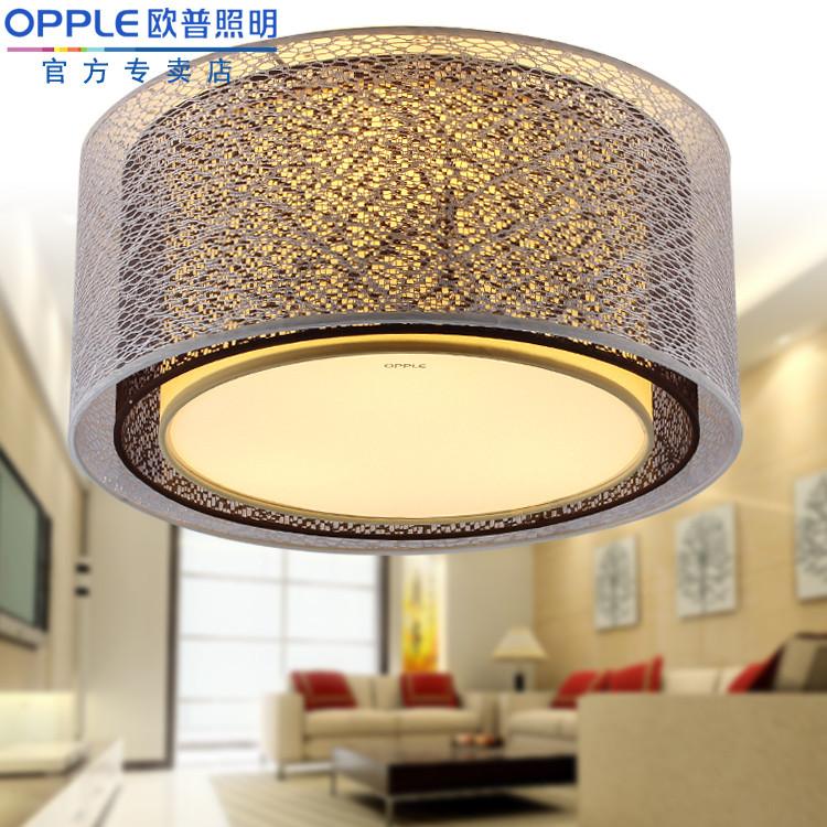 欧普照明 布不锈钢简约现代镂空雕花圆形节能灯 吸顶灯