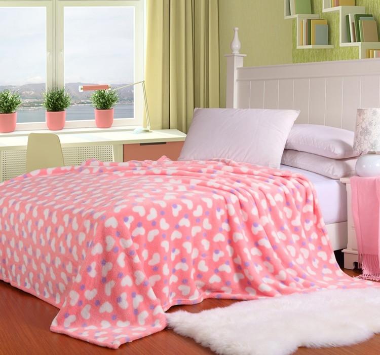 九月玖-珊瑚绒毯冬季植物花卉现代中式毛毯