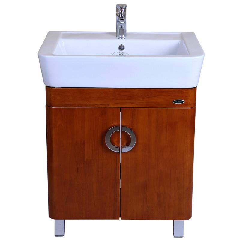 法恩莎橡木一体陶瓷盆-浴室柜