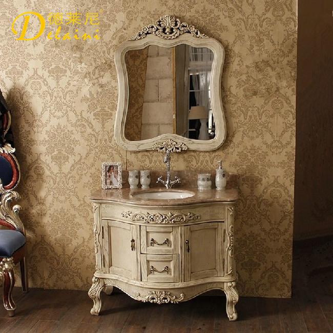德莱尼橡木含带配套面盆大理石台面欧式-浴室柜