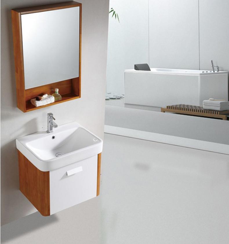 吉百卫橡木一体陶瓷盆简约现代浴室柜