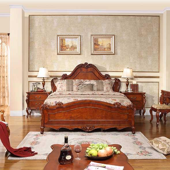 雅居格 实木床带储物箱橡胶木框架结构美式乡村雕刻 床
