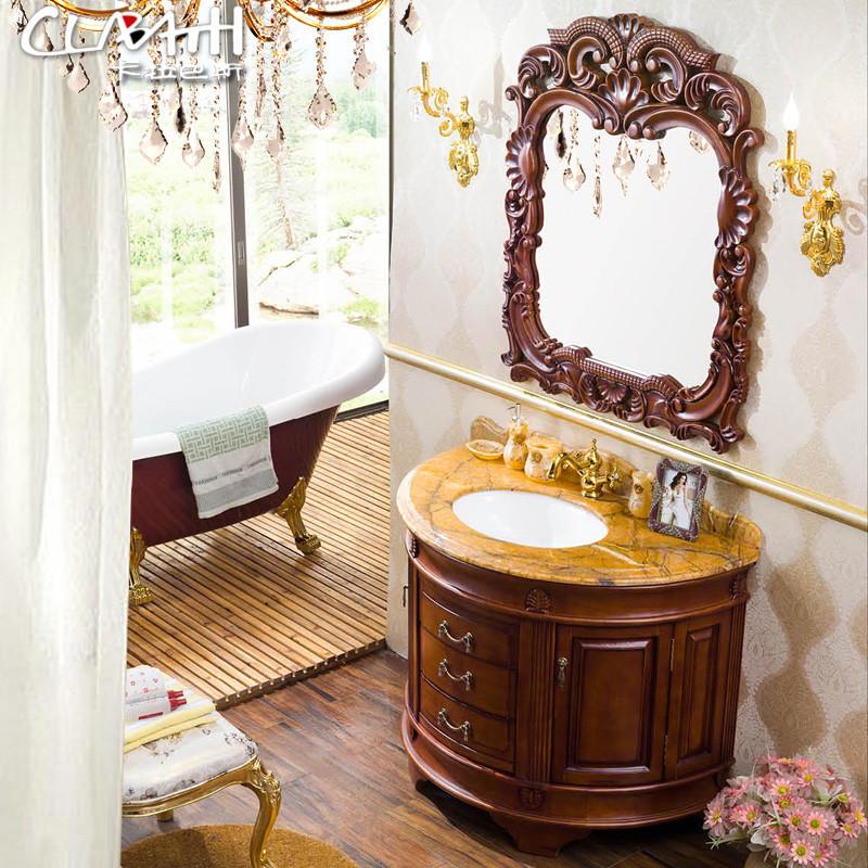 配b类石材配a类石材橡胶木含带配套面盆大理石台面欧式 浴室柜