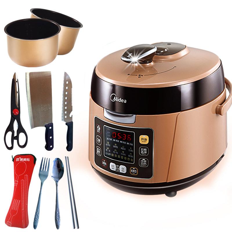 美的 巧克力色煲煮炖焖预约定时全国联保微电脑式 电压力锅