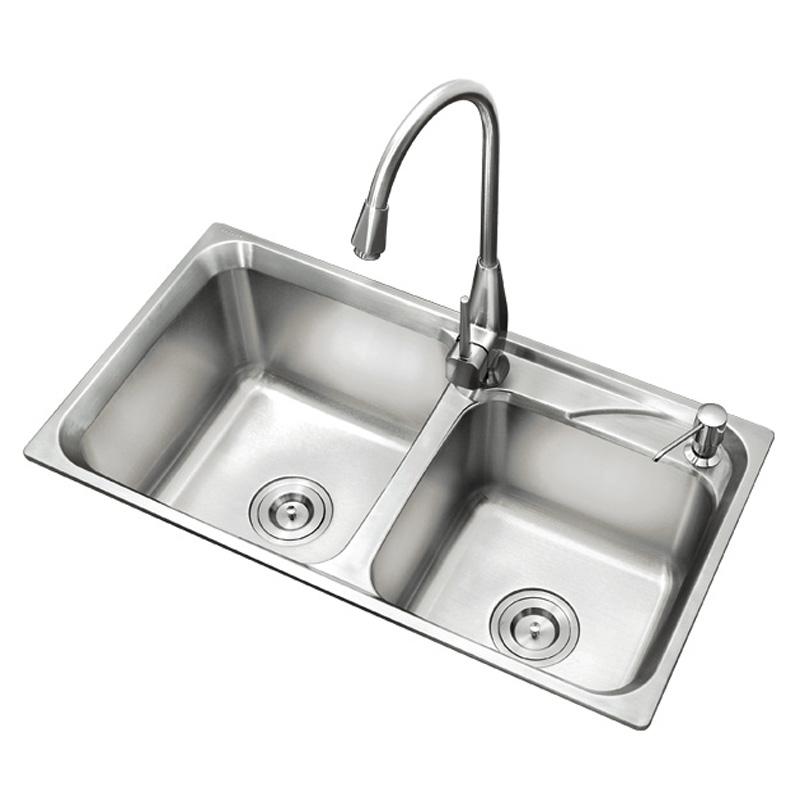 格璐斯 拉絲銀304不銹鋼拉絲工藝雙槽H843水槽 水槽