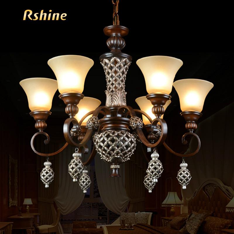 冉興 玻璃樹脂歐式鏤空雕花白熾燈節能燈 吊燈