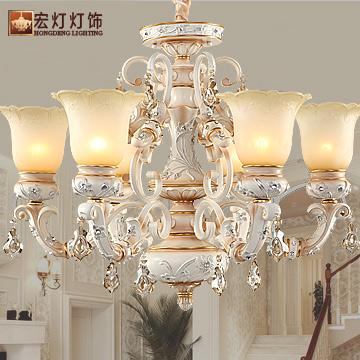宏燈燈飾 玻璃鐵水晶樹脂歐式噴漆磨砂白熾燈節能燈LED 8801-6吊燈