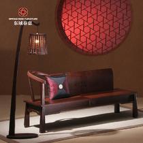 酒红色木质工艺框架结构榆木多功能现代中式 贵妃椅