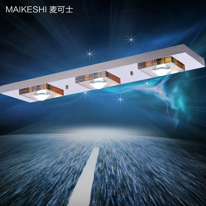 麦可士水晶不锈钢简约现代电动冲孔长方形-吸顶灯