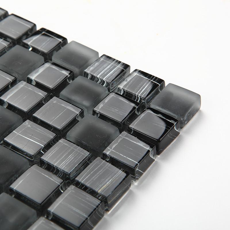 今润马赛克黑色玻璃内墙简约现代瓷砖