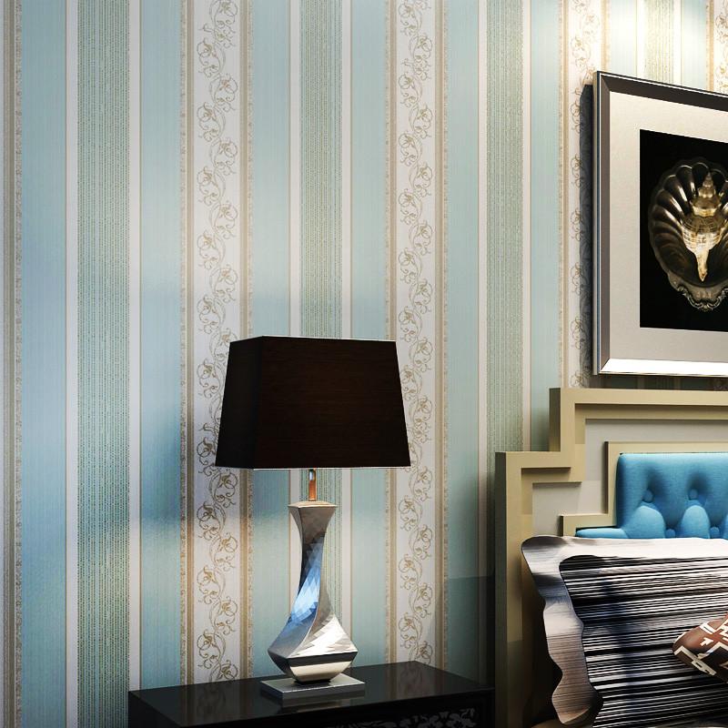 优际实业天蓝色浮雕有图案客厅书房卧室地中海墙纸