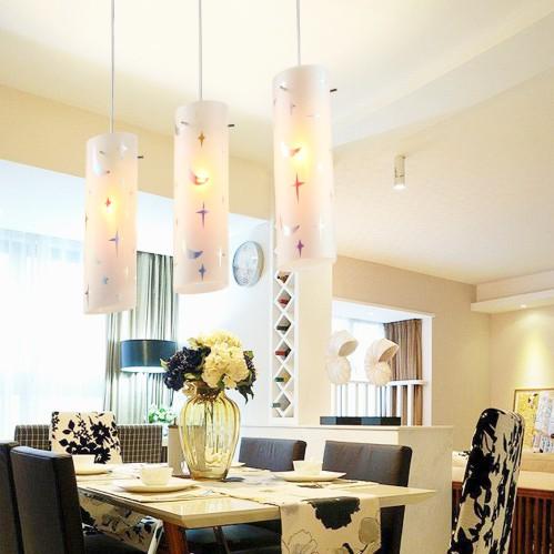 宜源燈飾 玻璃鐵簡約現代鍍鉻節能燈LED 星月吊燈吊燈