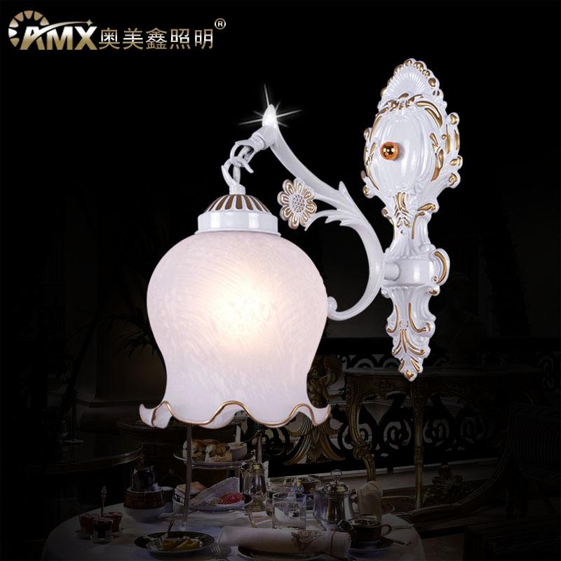 奥美鑫照明 玻璃合金欧式喷漆磨砂白炽灯节能灯LED 壁灯