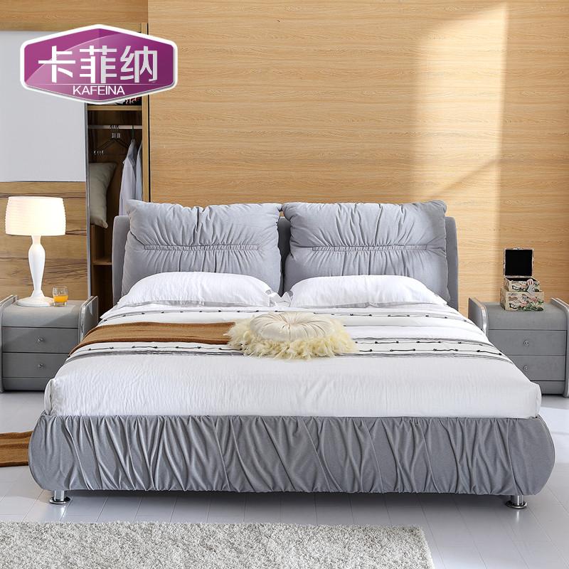 咖啡色米色灰色木植绒组装式架子床绒质方形