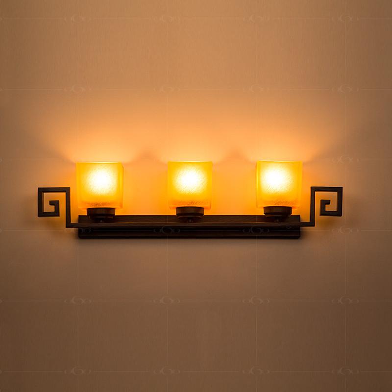 奥果玻璃铁现代中式白炽灯节能灯壁灯
