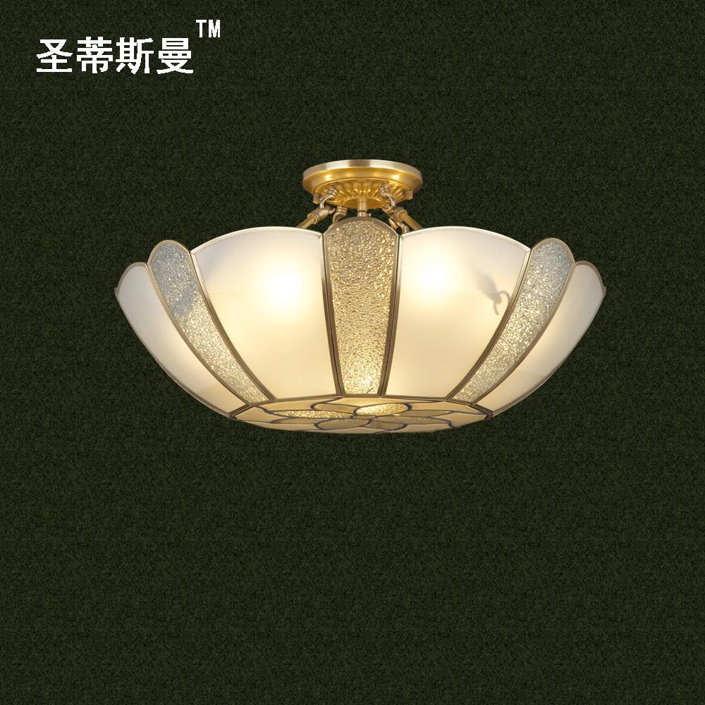 圣蒂斯曼 玻璃銅歐式白熾燈節能燈LED SZ06052-04吊燈