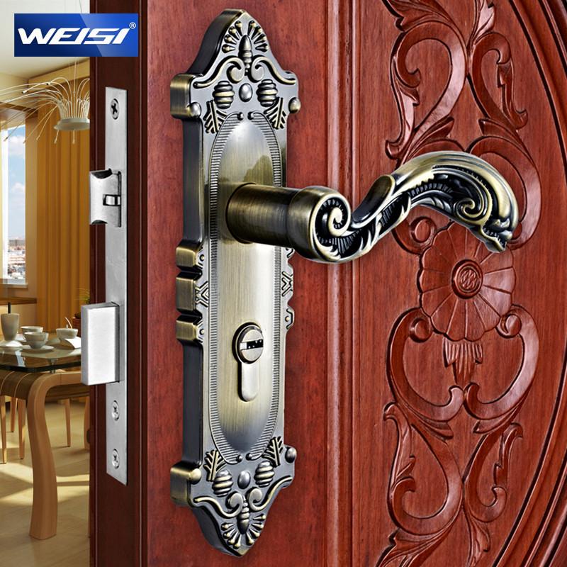 威士通用型象牙白黄古铜哑青古锁室内门锌包铜双锁舌锁具