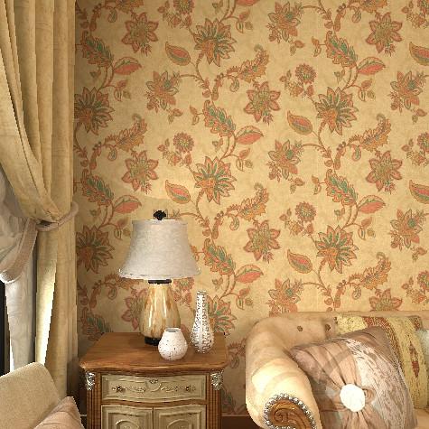 歌诗雅印花有图案大花卧室美式乡村墙纸