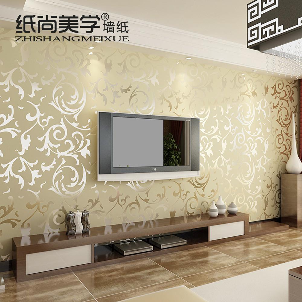 纸尚美学毛面有图案客厅欧式墙纸