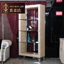 米色间厅柜经典款式金属压花酒柜酒架不锈钢皮革框架结构多功能植物花卉新古典 壁炉