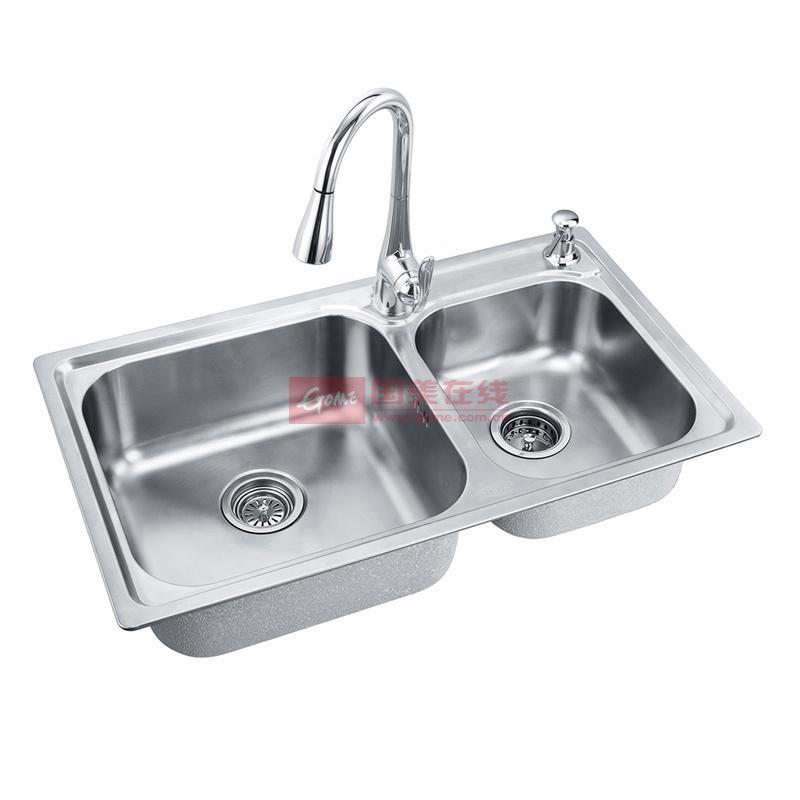 摩恩 不锈钢色304不锈钢镀铬双槽水槽 水槽