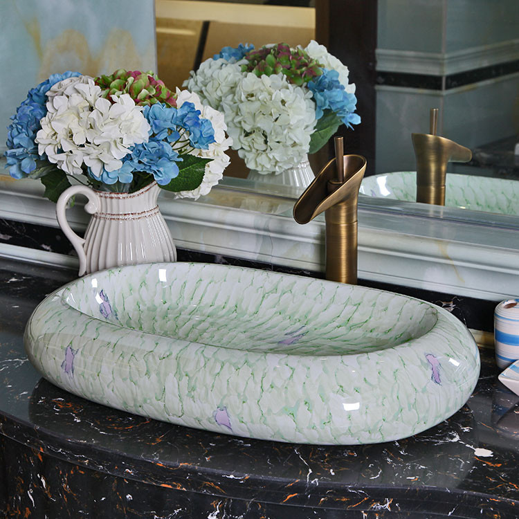靈宇 陶瓷單孔 綠木紋洗手盆
