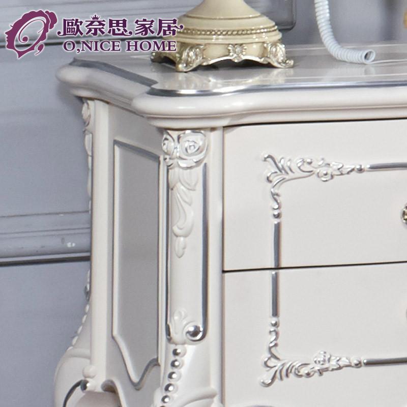 欧奈思家居 深色描金米色描银成人欧式 床头柜