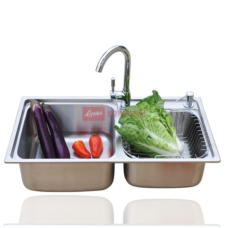 耐尊 304不锈钢拉丝面拉丝工艺双槽NZ304双面拉丝水槽套餐(75*40,77*42,80*43CM)水槽 水槽